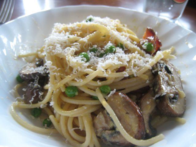 Spaghetti Carbonara with Mushrooms and Peas